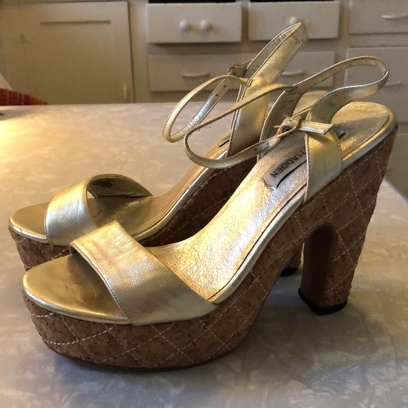14a3442cc Steve Madden Shoes | Gold Disco Cork Platform Sandals | Poshmark